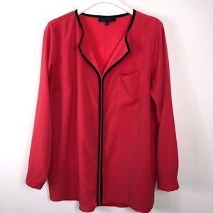 ELOQUII Coral Long Sleeve Blouse Size 14